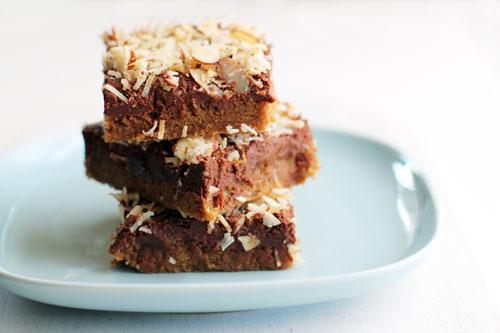 recipe for coconut almond fudge bars, i.e. crack bars, from @janemaynard