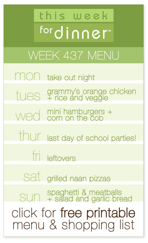 week 437 weekly dinner menu from @janemaynard including FREE printable meal plan and shopping list!