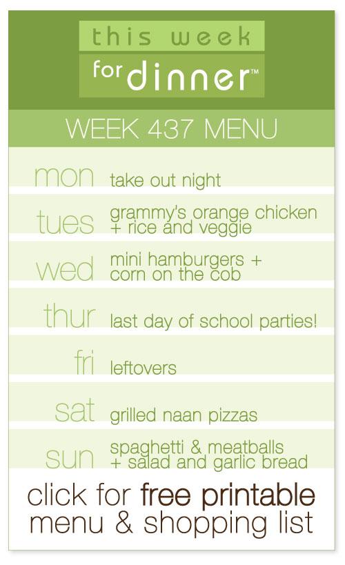 week 437 weekly dinner menu from @janemaynard including FREE printable meal plan and shopping list!
