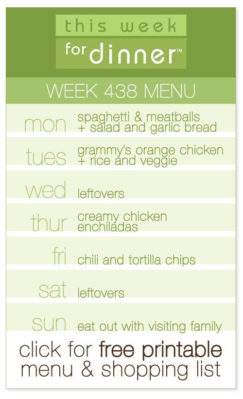 week 438 weekly menu from @janemaynard including FREE printable meal plan and shopping list