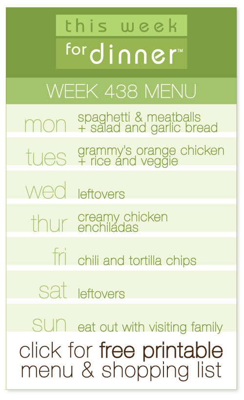 week 438 weekly menu from @janemaynard including FREE printable meal plan and shopping list