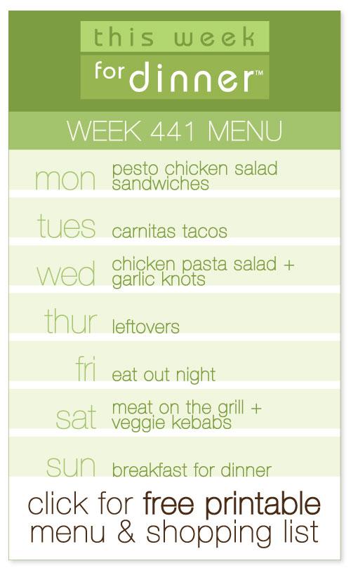 week 441 weekly menu from @janemaynard including FREE printable meal plan and shopping list!