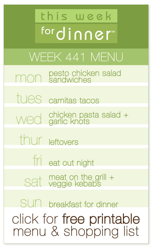 week 441 weekly menu from @janemaynard including FREE printable meal plan and shopping list!