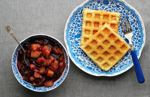 overnight waffles + apple-cranberry compote from @janemaynard
