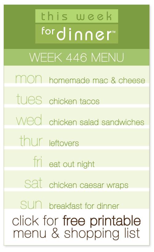 week 446 weekly menu from @janemaynard including FREE printable meal plan and shopping list!