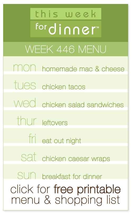 week 446 weekly menu from @janemaynard including FREE printable meal plan and shopping list!