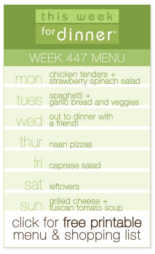 week 447 weekly menu from @janemaynard including FREE printable dinner meal plan and shopping list!