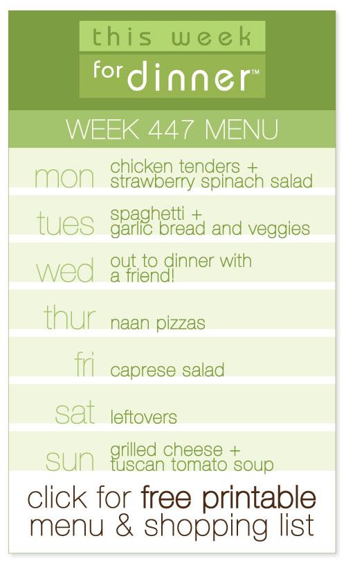 week 447 weekly menu from @janemaynard including FREE printable dinner meal plan and shopping list!