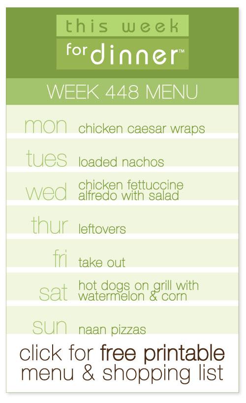 week 448 weekly menu from @janemaynard including FREE printable meal plan and shopping list!