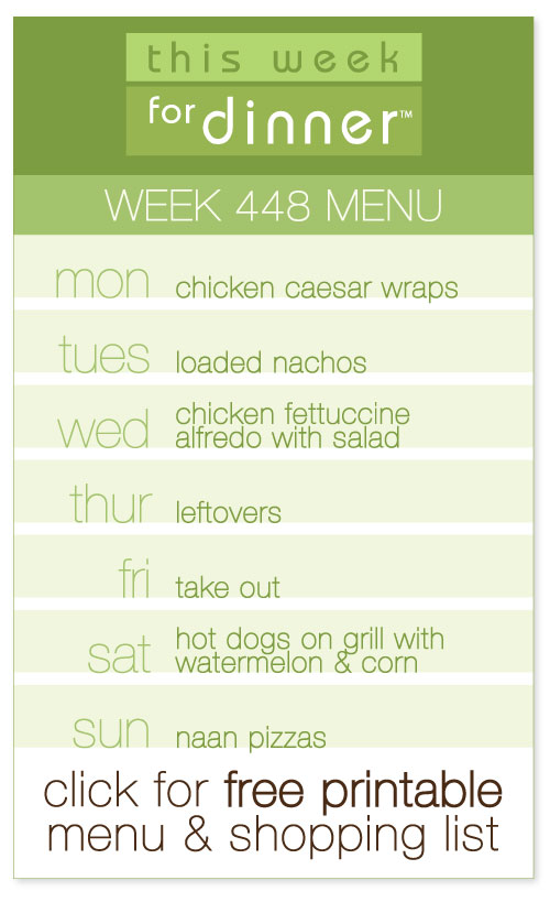 week 448 weekly menu from @janemaynard including FREE printable meal plan and shopping list!