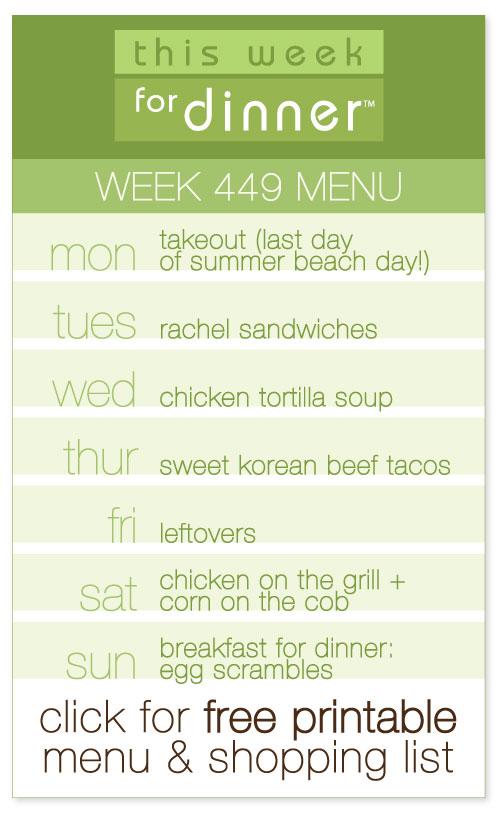 week 449 weekly menu including FREE printable meal plan and shopping list from @janemaynard