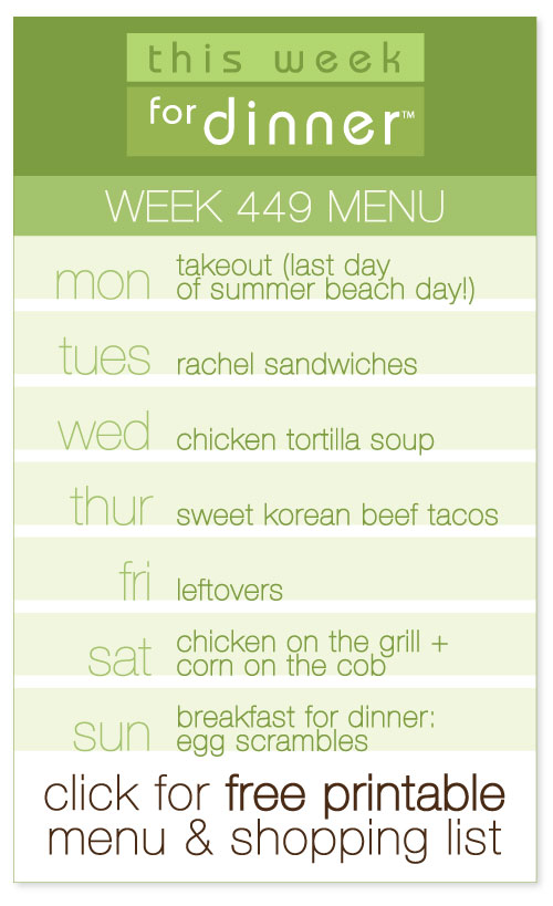 week 449 weekly menu including FREE printable meal plan and shopping list from @janemaynard