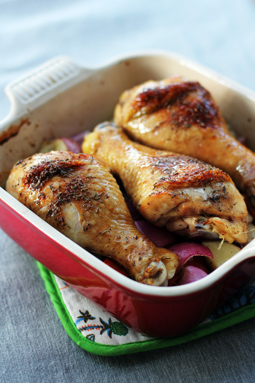 the 8x8 cookbook recipe for honey-glazed chicken with roasted vegetables from @janemaynard