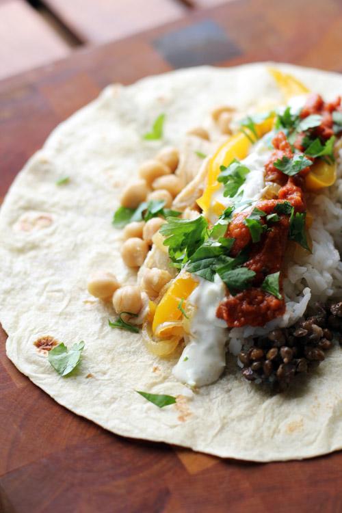 indian burritos with tandoori chicken, masala sauce and raita by @janemaynard