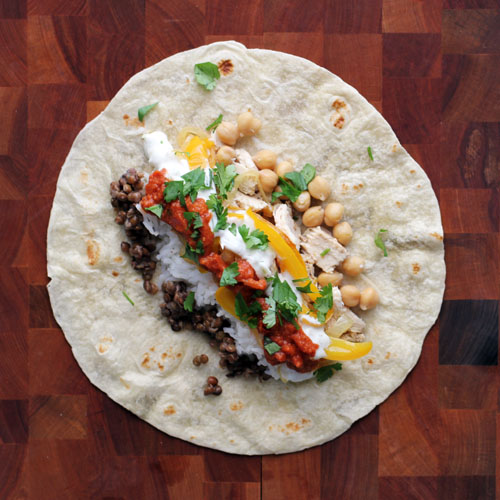 indian burritos with tandoori chicken, masala sauce and raita by @janemaynard