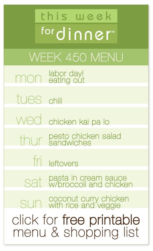 week 450 weekly menu from @janemaynard including FREE printable meal plan and shopping list!