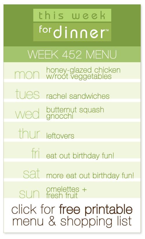 week 452 weekly menu from @janemaynard including FREE printable meal plan and shopping list!