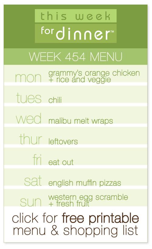 week 454 weekly menu from @janemaynard including FREE printable meal plan and shopping list!