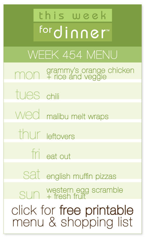 week 454 weekly menu from @janemaynard including FREE printable meal plan and shopping list!