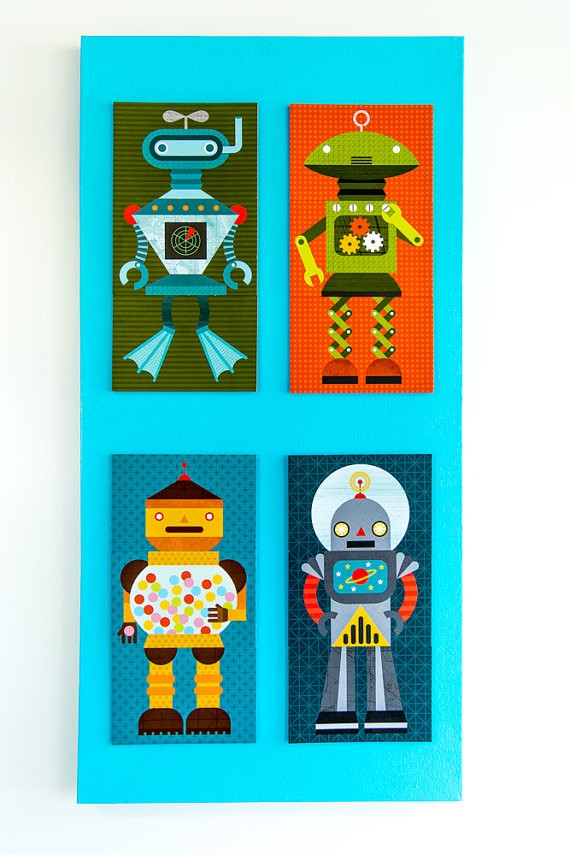 rachel lorkin robots on canvas