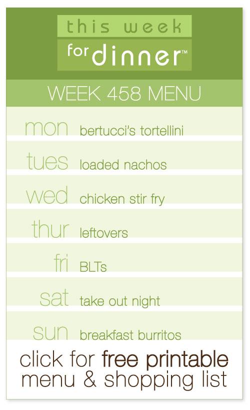 week 458 weekly menu from @janemaynard including FREE printable meal plan and shopping list!