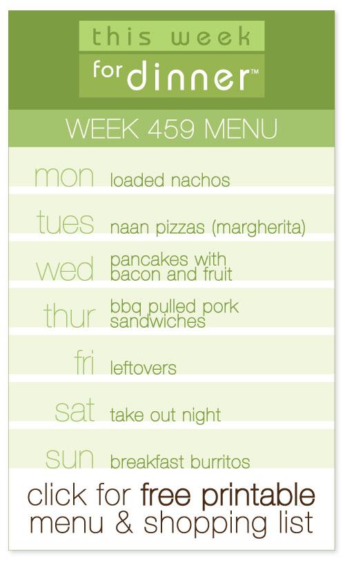 Week 459 Weekly Menu with FREE Printable Meal Plan and Shopping List from @janemaynard
