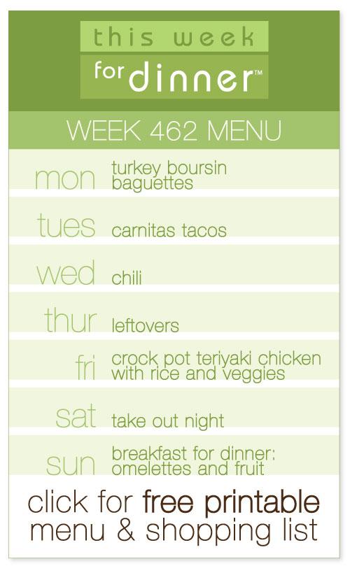 week 462 weekly menu from @janemaynard including FREE printable meal plan and shopping list!