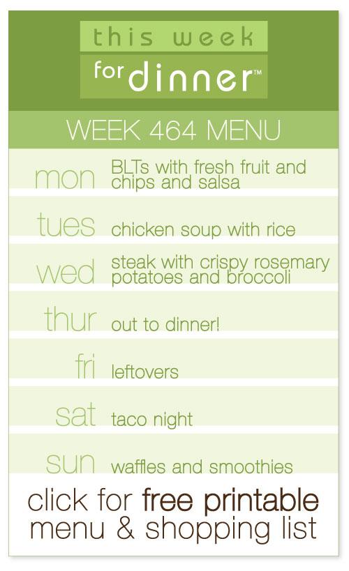 Week 464 weekly menu by @janemaynard including free printable weekly meal plan and shopping list
