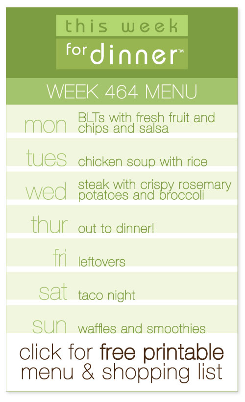 Week 464 weekly menu by @janemaynard including free printable weekly meal plan and shopping list