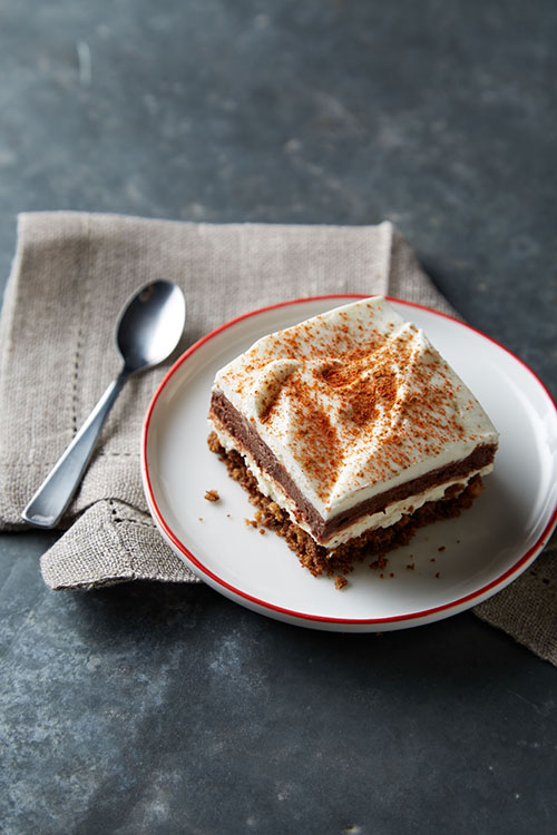 Recipe for Spicy Layered Chocolate Mousse Squares from @janemaynard