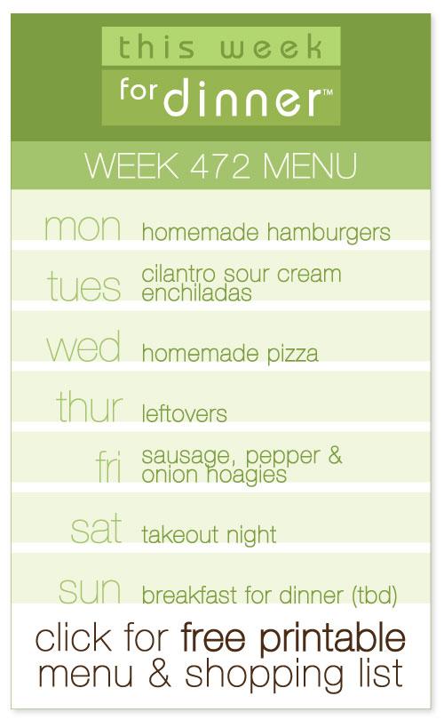 Week 472 Weekly Menu from @janemaynard including FREE printable meal plan and shopping list!