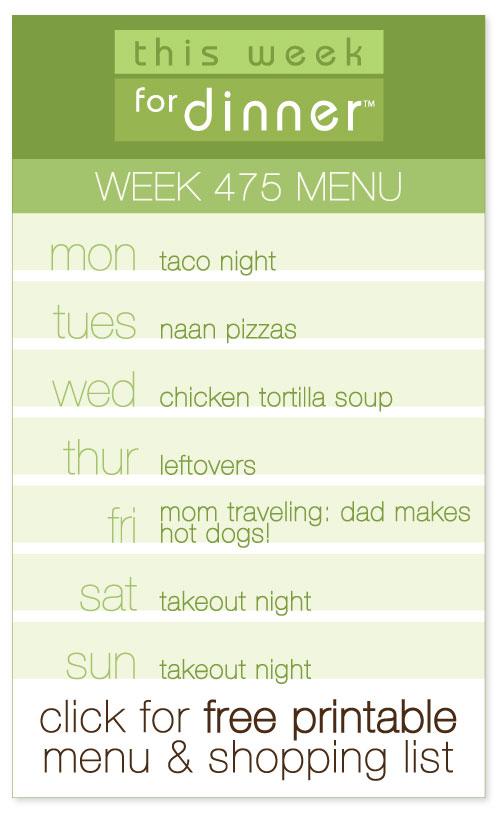 Week 475 Weekly Menu + FREE Printable weekly meal plan and shopping list from @janemaynard