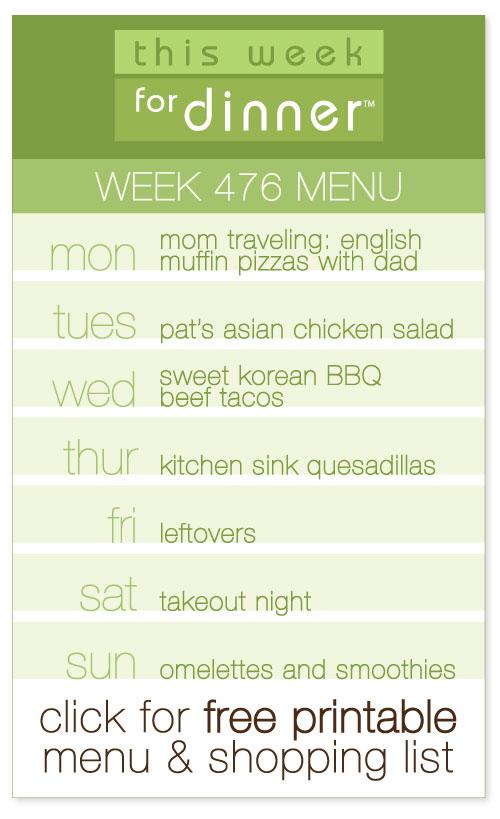 Week 476 Weekly Menu from @janemaynard including FREE printable weekly meal plan and shopping list!