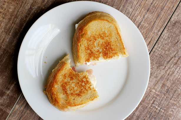 PB&P Sandwiches, aka Pear Brie Prosciutto Grilled Cheese Sandwiches from @janemaynard