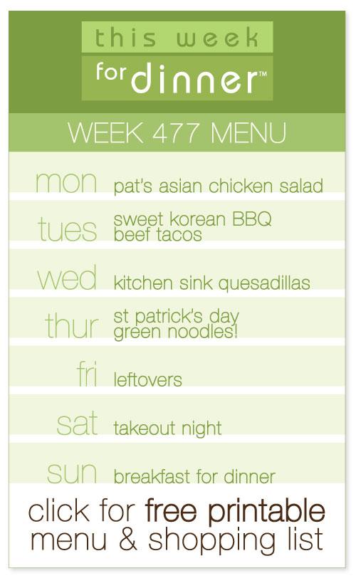 Week 477 Weekly Menu from @janemaynard including FREE printable meal plan and shopping list for the week!