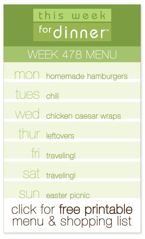 Week 478 Weekly Menu from @janemaynard with FREE printable PDF of the menu and shopping list!