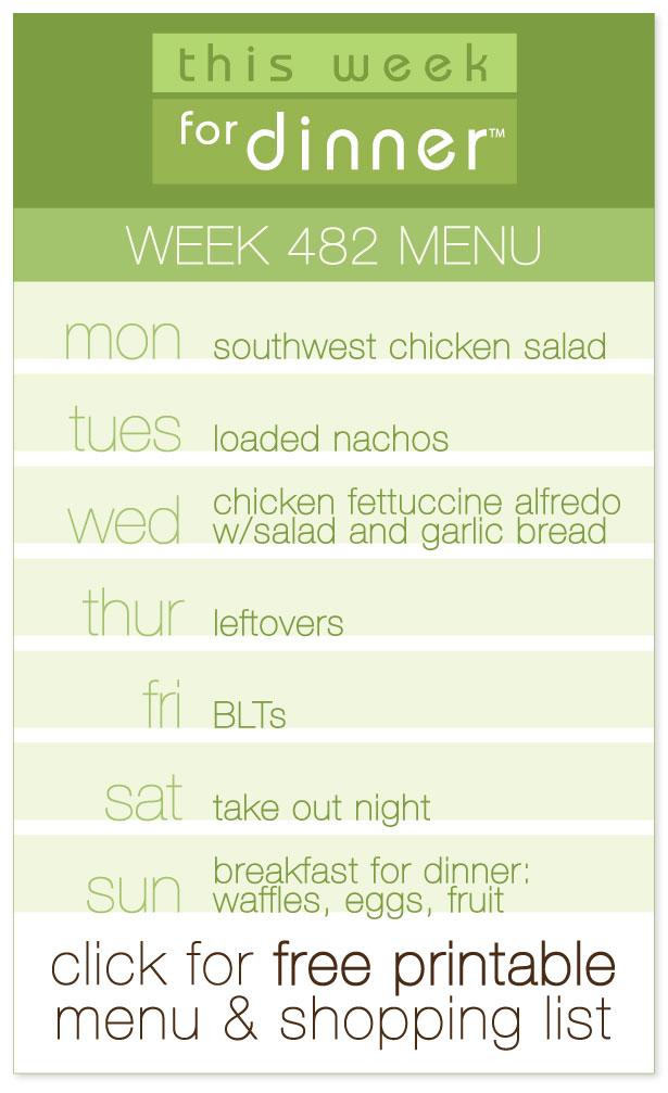 Week 482 Weekly Menu from @janemaynard including free printable PDF with weekly dinner plan and shopping list!