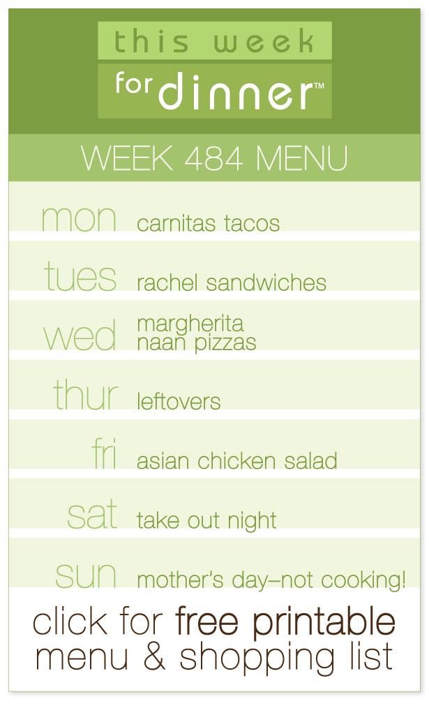 Week 484 Weekly Menu from @janemaynard including FREE printable meal plan and shopping list!