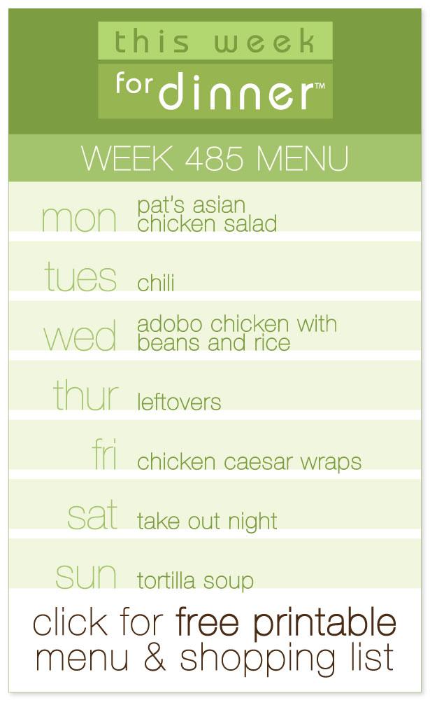 Week 485 Weekly Menu from @janemaynard including FREE printable weekly dinner meal plan and shopping list!