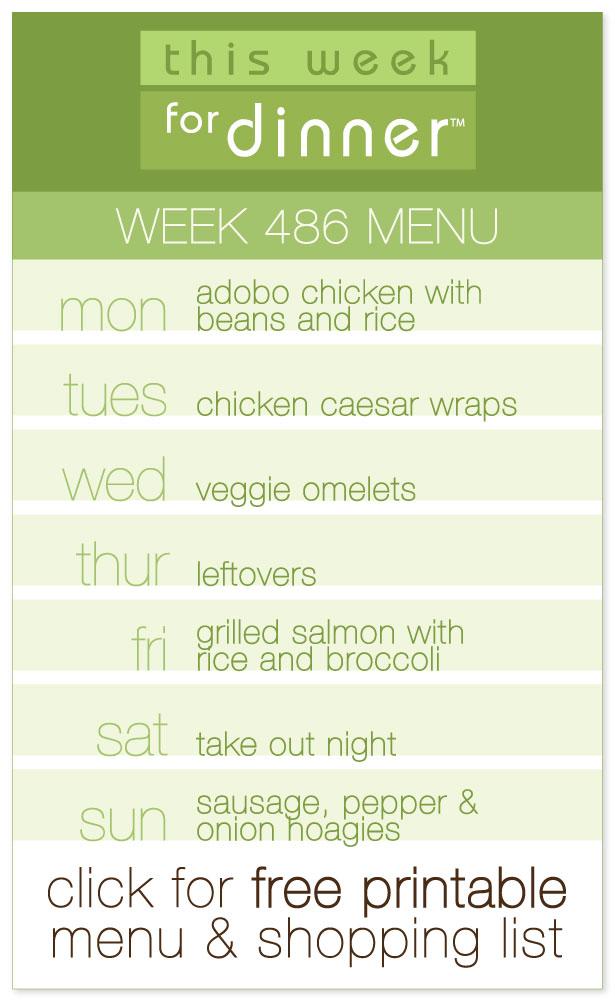 Week 486 Weekly Dinner Menu from @janemaynard including FREE printable meal plan and shopping list!