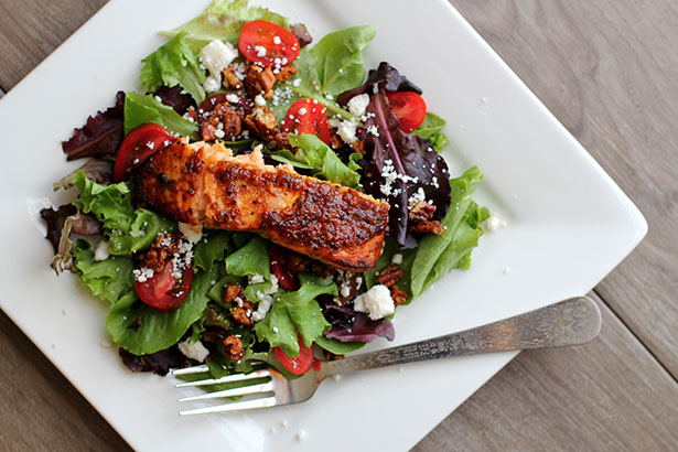 Recipe for Grilled Brown Sugar Bourbon Salmon Pecan Salad from @janemaynard