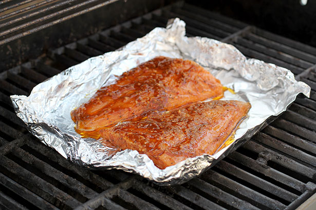 Recipe for Grilled Brown Sugar Bourbon Salmon Pecan Salad from @janemaynard - Grilling the Salmon