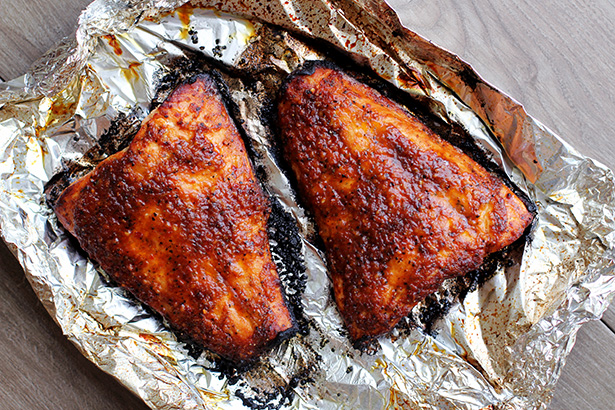 Recipe for Grilled Brown Sugar Bourbon Salmon Pecan Salad from @janemaynard - Hot off the Grill