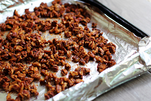 Recipe for Grilled Brown Sugar Bourbon Salmon Pecan Salad from @janemaynard - Roasted Pecans
