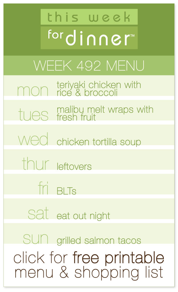 Week 492 Weekly Menu from @janemaynard including FREE printable meal plan and shopping list!