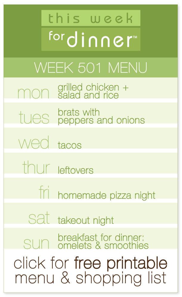 Week 501 Weekly Dinner Menu with FREE printable PDF and shopping list from @janemaynard