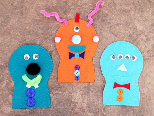 Simple Felt Monster Puppets for a Monster-Themed Birthday Party from @janemaynard