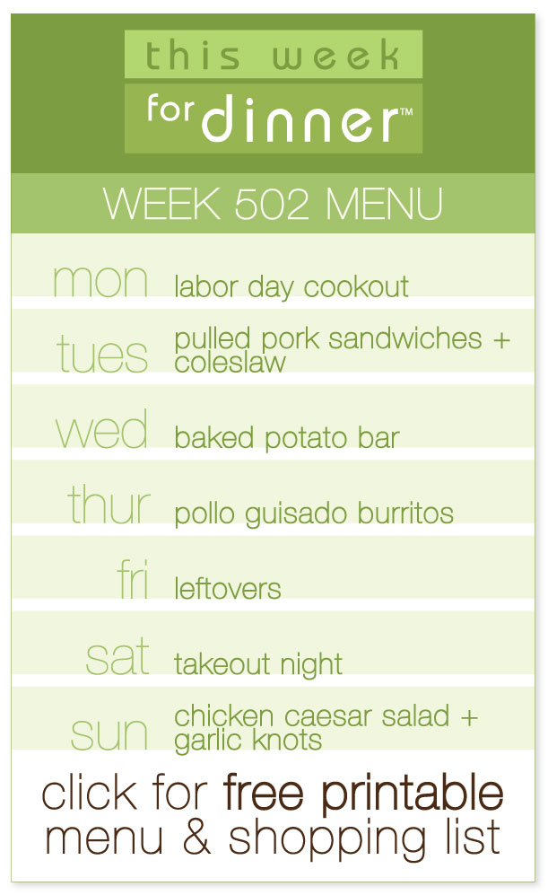Week 502 Weekly Menu from @janemaynard including FREE printable PDF with menu and shopping list!