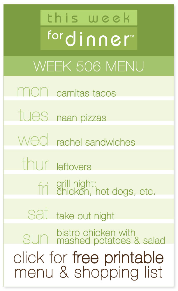Week 506 Weekly Menu from @janemaynard including FREE printable weekly menu + ingredients list!