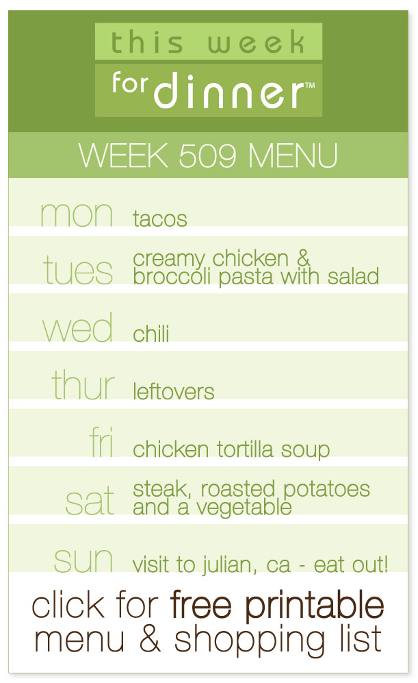 Week 509 Weekly Menu from @janemaynard including FREE printable weekly dinner plan and ingredients list!